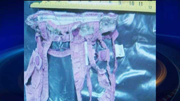 Tattered pants found on beach