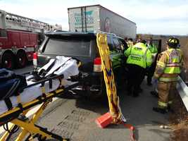 The woman suffered minor scratches and was taken to a local hospital as a precaution. No other injuries were reported.