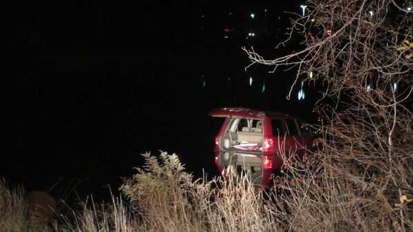A vehicle crashed into Round Pond on Thursday.