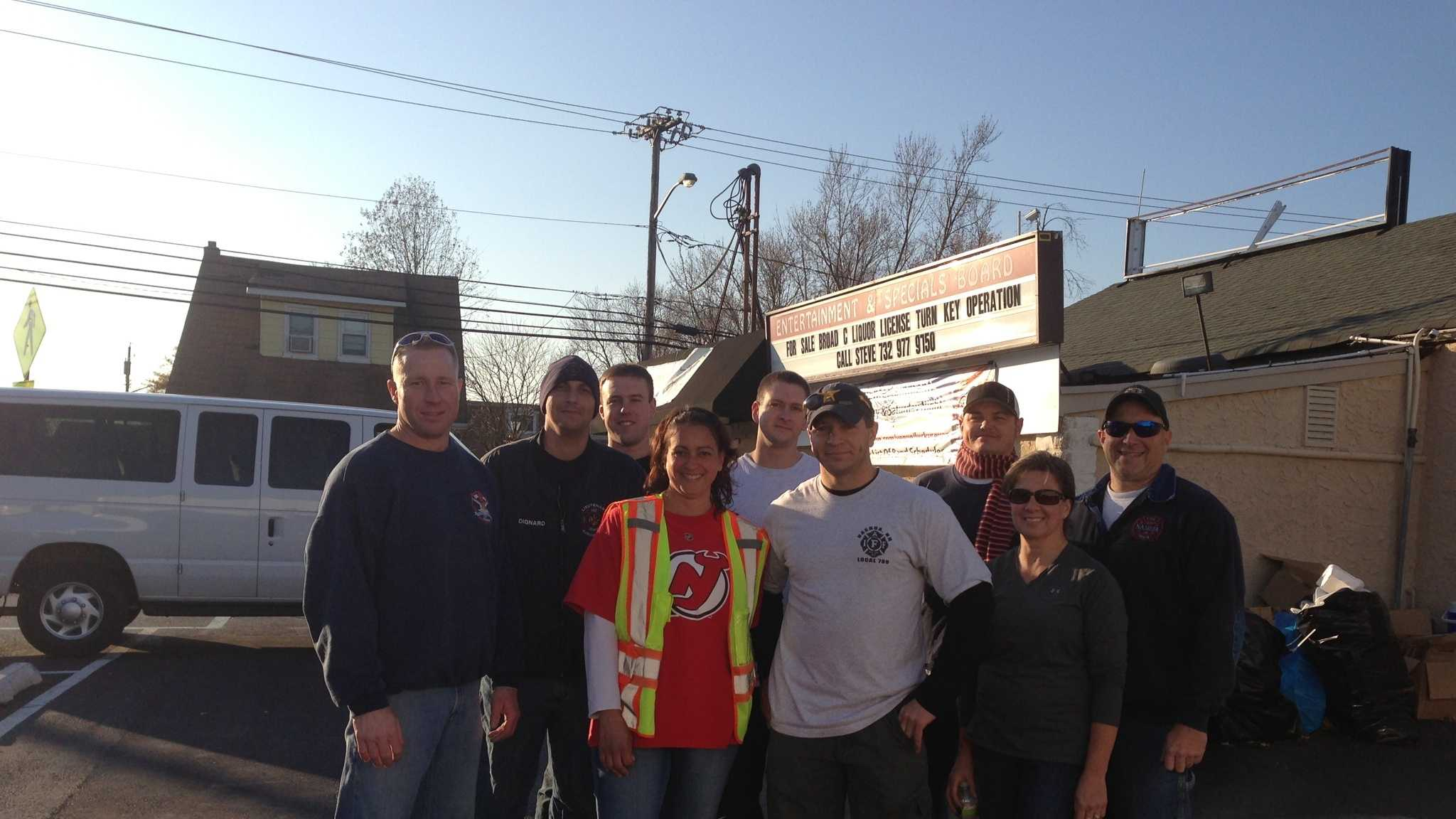 Firefighters arrived in Union Beach, N.J. Saturday to deliver supplies for Hurricane Sandy victims.