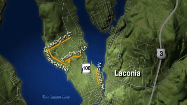 Lexington Drive, Lynnewood Road, Blueberry Lane, and McGrath Street in Laconia