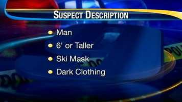 Bedford police said they are looking for a tall man, six-feet-tall or taller, wearing a black ski mask and dark clothing in connection with the initial attack.