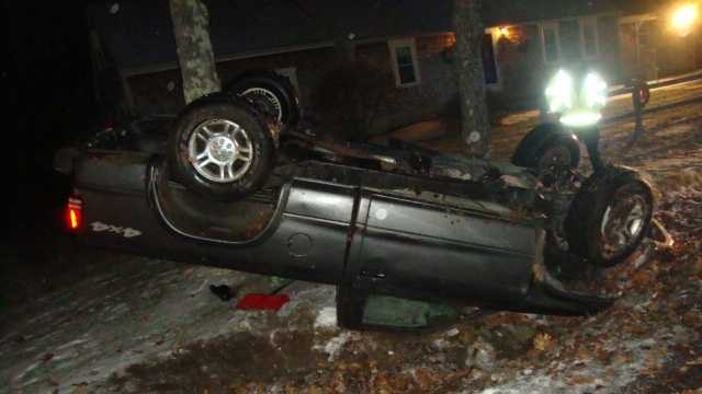 Rochester police found this pickup truck Sunday morning rolled over in a ditch