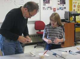The sixth- and seventh-grade students from the Indian River School worked with art teacher Cynthia Cummings and sculptor Ernie Birch (pictured here) on the project over the course of several weeks during the fall.