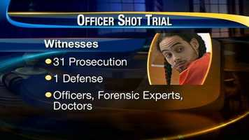 In all, 32 witnesses (31 by the prosecution, 1 by the defense) were called to the stand. Witnesses included officers, forensic experts and doctors.