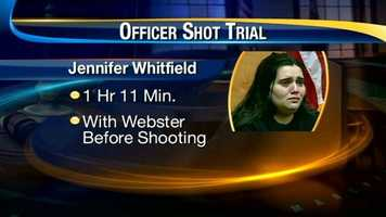Jennifer Whitfield, meanwhile, was on the stand for one hour, 11 minutes. She testified that she was with Webster before the shooting took place.
