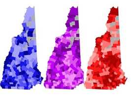 No. 2: New Hampshire has been a swing state for years, thanks to its politically diverse group of towns. Is your town red or blue? Find out by clicking here!