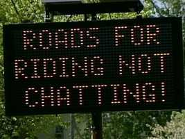 No. 20: This road sign in Rye didn't sit well with some bicyclists back in May.