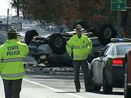 No. 15: The Everett Turnpike was shut down in both directions after a rollover crash in March that began with road rage, according to state police.