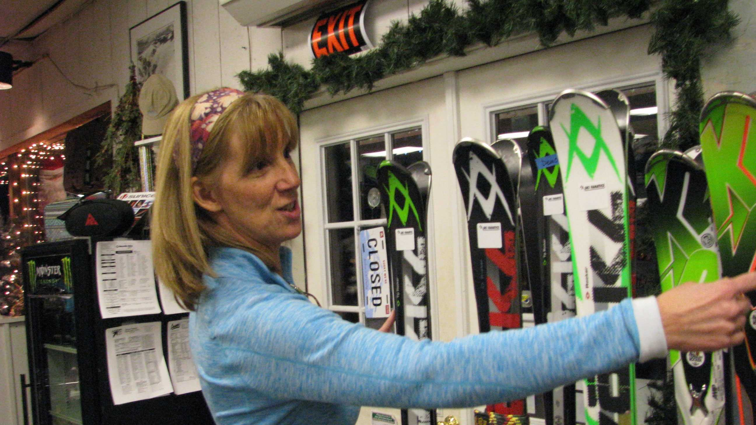 Deb Englehardt, owner of Ski Fanatics in Campton, shows some of the demo skis available daily for rent from her shop, with the cost applicable towards purchase. Demo days are going on across New England to help skiers and riders find the perfect gear.