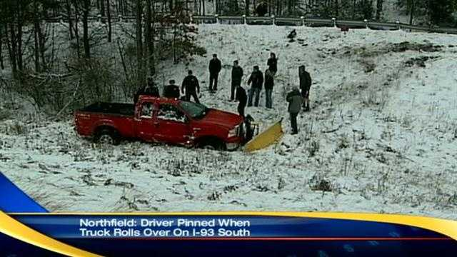Plow truck skids off I-93 at Tilton-Northfield line