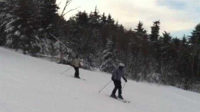 Skiing in frigid air at Mount Sunapee