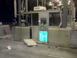A truck struck a toll booth in Hampton Monday night.