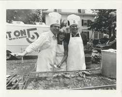Chet Curtis at a station cook-out in the 1980s.