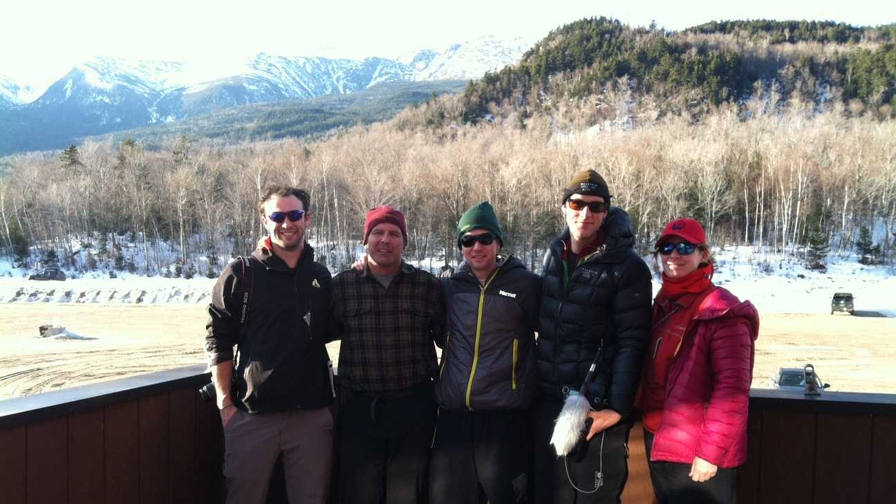 From left to right: J.P. Politz, Andy Politz, Keith Zeier, Dan Sohner, and Steph White are part of the expedition team today on Mount Washington. They are raising funds and awareness for the families of killed or injured special operations soldiers. Zeier, 26, of Brooklyn, a retired marine sergeant lost his leg and suffered brain trauma in an IED attack in Iraq in 2006.