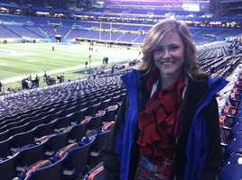 The most memorable story Erin has ever covered is the 2012 Super Bowl in Indianapolis. One of the highlights for her was getting to ask QB Tom Brady a question on media day.