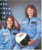 McAuliffe is pictured here with Barbara Morgan, who was her back-up in the Teacher In Space program.