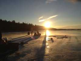 Conditions were perfect Thursday for the start of the annual ice harvest on Big Squam Lake.
