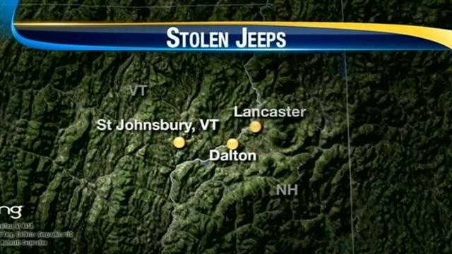 State police are searching for a man they say stole three Jeeps within a matter of hours.