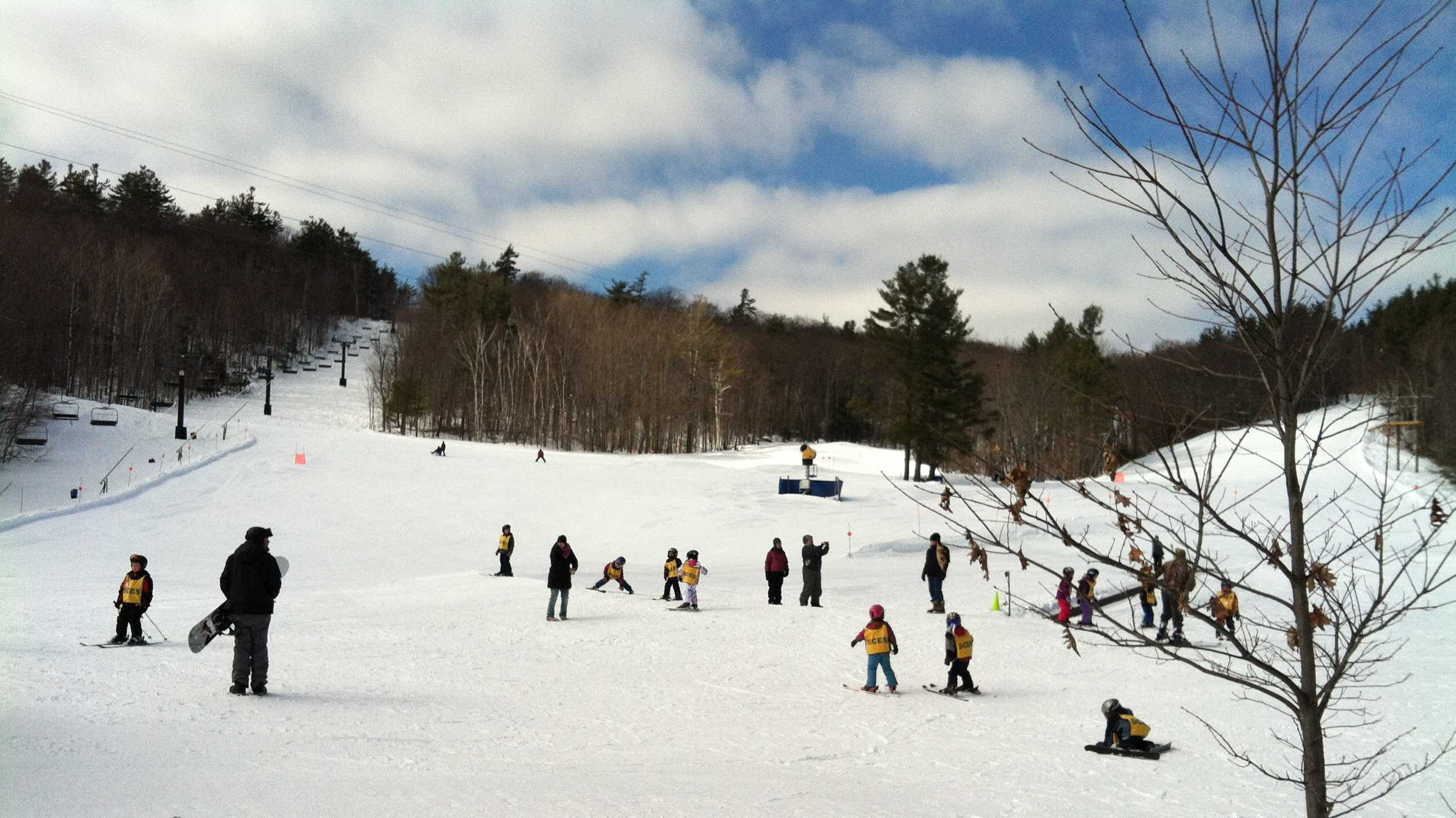 Little skiers learn on the Province Slope at Mount Sunapee in Newbury on Thursday morning just before the start of President's Day Weekend and the two-week February vacation period.