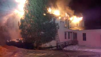 Strong wind gusts caused problems for firefighters battling a five-alarm blaze in Strafford early Monday morning.