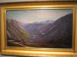 """Frank Shapleigh 1877's oil on canvas, """"Crawford Valley from Mt. Willard,"""" is also on display at the Museum of the White Mountains."""