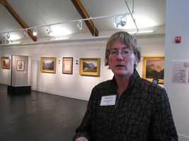 Catherine Amidon, director of the Museum of the White Mountains in Plymouth, describes the inaugural collection that is on display to the public for free beginning Saturday.