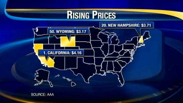 The average gas price in New Hampshire is up 31 cents in the past month.