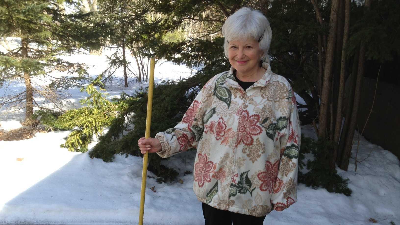 Katherine Reader with broom