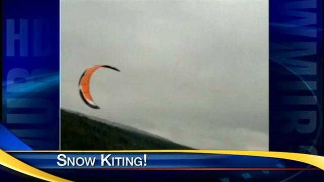 Snow kiters enjoy great conditions for this year's snow kiting festival.