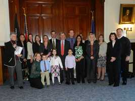 2012 March of Dimes Advocacy Day at the State House with volunteers and the national ambassador family.