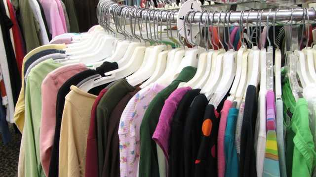 clothing rack at store, shopping, sale