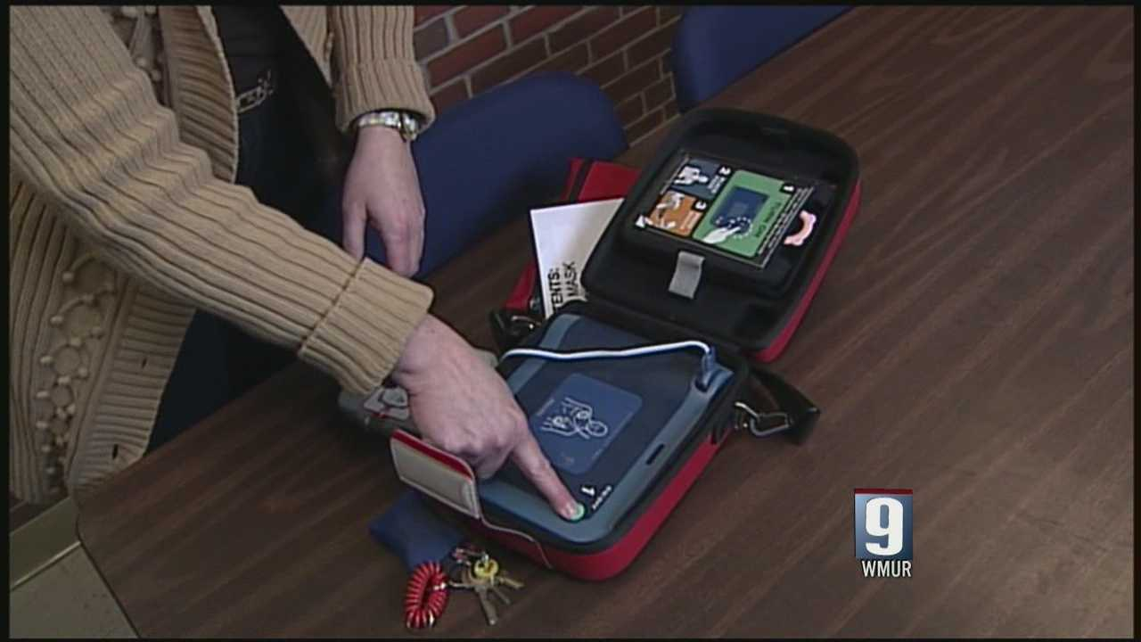 School AED helps revive man