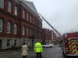Crews from Exeter and several nearby towns arrived at the scene of a fire at the old town hall on Front Street Tuesday morning.