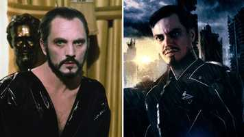 """While the """"Man of Steel"""" doesn't feature Lex Luthor, it does bring back a villain familiar to fans of the Christopher Reeve film series. """"Boardwalk Empire"""" star Michael Shannon (right) plays General Zod, a super-powered psychopath from Superman's home planet of Krypton, in the newest film. British actor Terence Stamp (left) first portrayed General Zod in 1978's """"Superman I"""" and 1980's """"Superman II."""""""