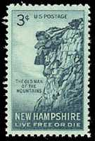 The Old Man became a symbol of New Hampshire, as depicted here on a 1955 stamp.