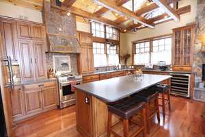 The main floor offers a well equipped and spacious kitchen adding to the mountain lodge appeal.