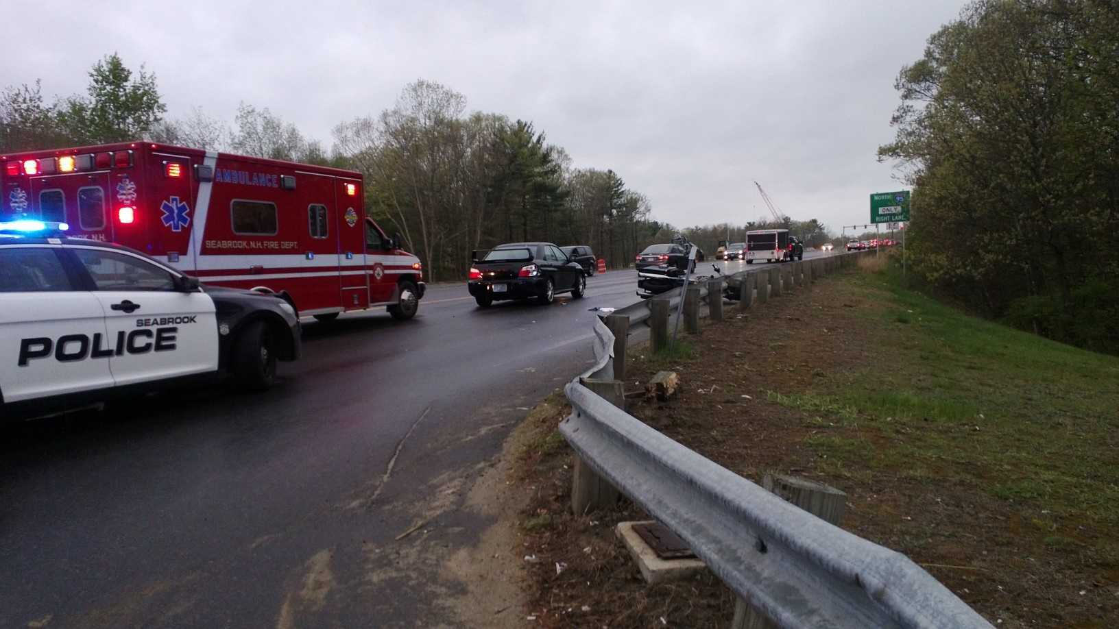 State police say a motorcyclist from Newton was taken to a Boston Hospital on Saturday after he suffered serious injuries in a crash in Seabrook.