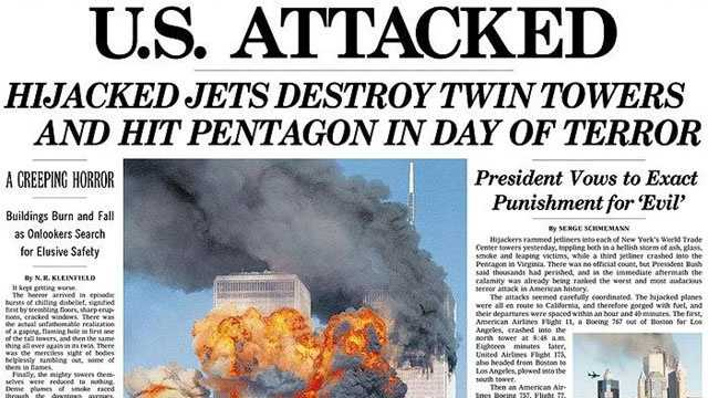New York Times 9-11 front page blurb