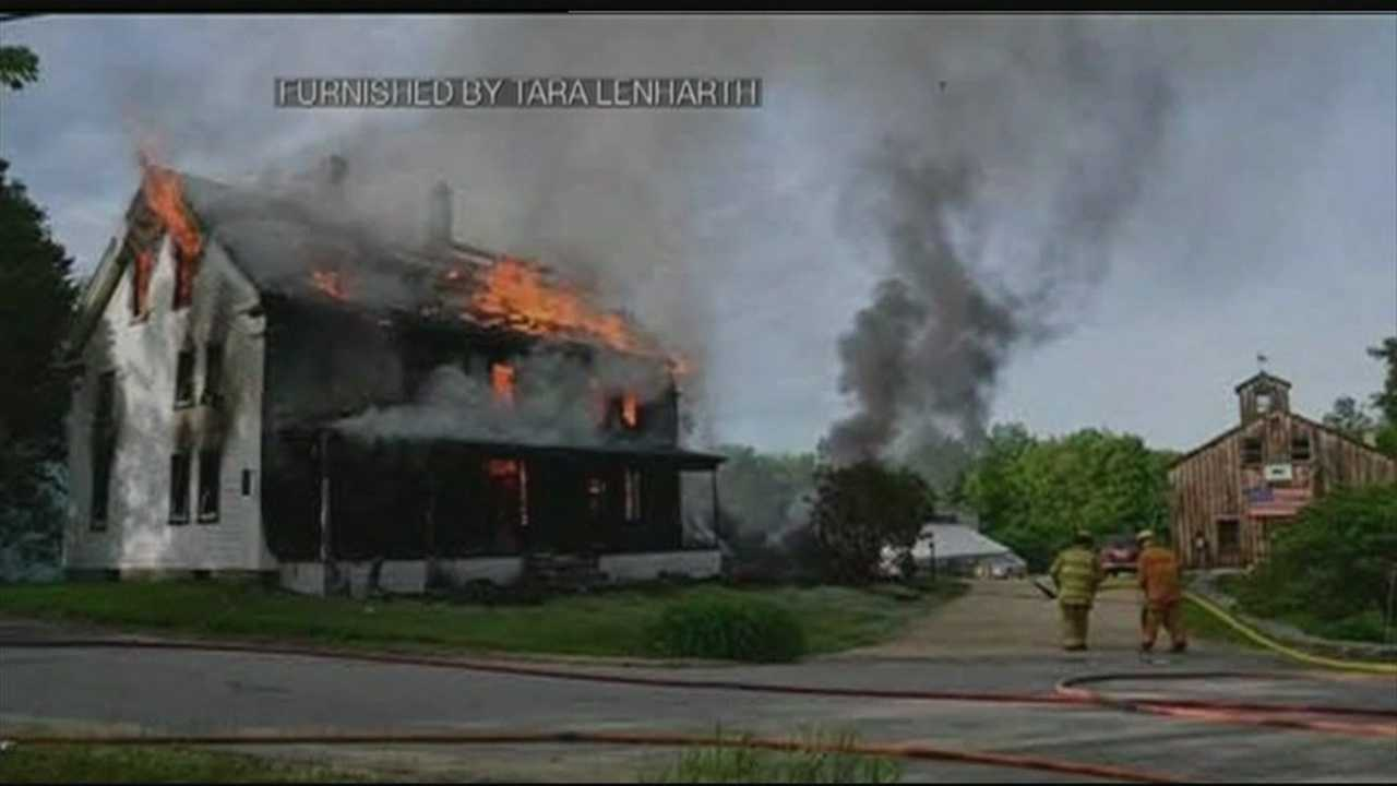 A homeowner in Strafford was burned trying to save his dog Wednesday evening from his burning home.