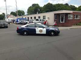 Aaron Hernandez left the Attleboro police station around 1:30pm - bound for the Attleboro district court.