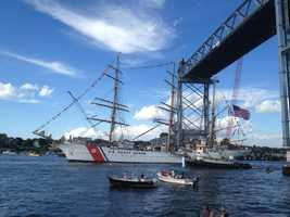 The USCG Barque Eagle serves as a training vessel for Coast Guard officers.