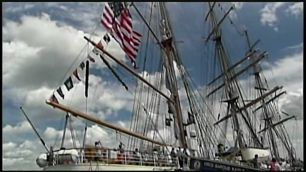 Hundreds of people lined the banks of the Piscataqua in Portsmouth Friday evening as the U.S. Coast Guard Barque Eagle returned to the Seacoast for the first time in four years.