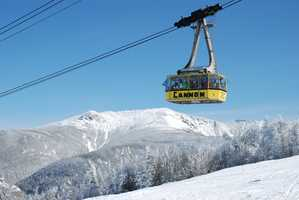 The tramway brings visitors to the 4,180 foot summit of Cannon Mountain in approximately eight minutes.