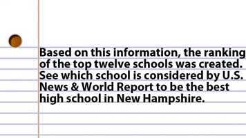 Based on this information, the ranking of the top twelve schools was created. See which school is considered by U.S. News & World Report to be the best high school in New Hampshire.