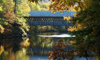 Henniker Bridge in Henniker, N.H.Constructed in 1972. The bridge was built by traditional methods, which included using a team of oxen.