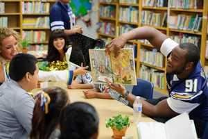 Kendall Reyes and students at Kimball Elementary School in San Diego.