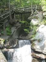 The brook cascades along the gorge until it joins the Pemigewasset River, which flows from Franconia Notch.