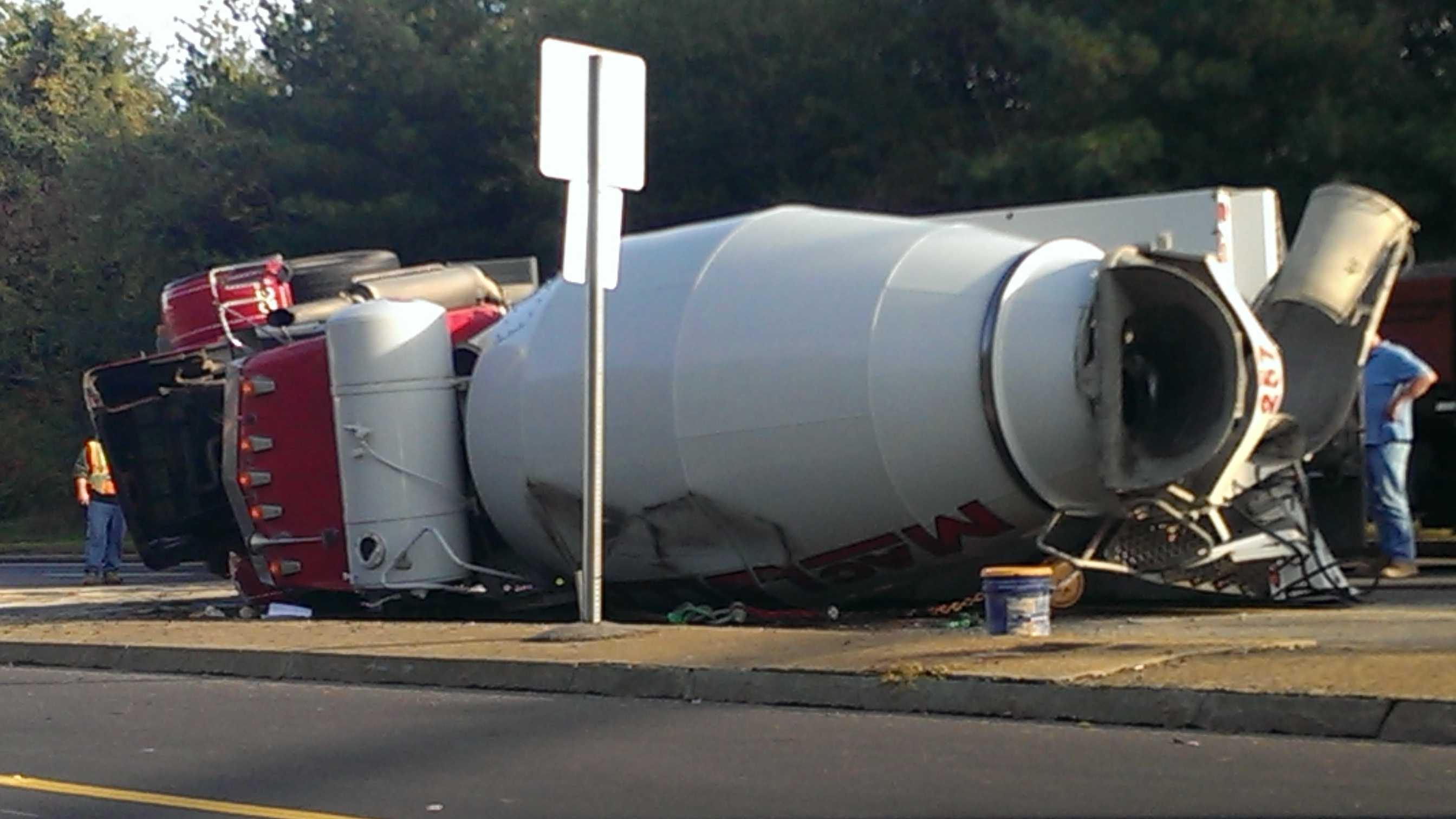 Cement truck rollover