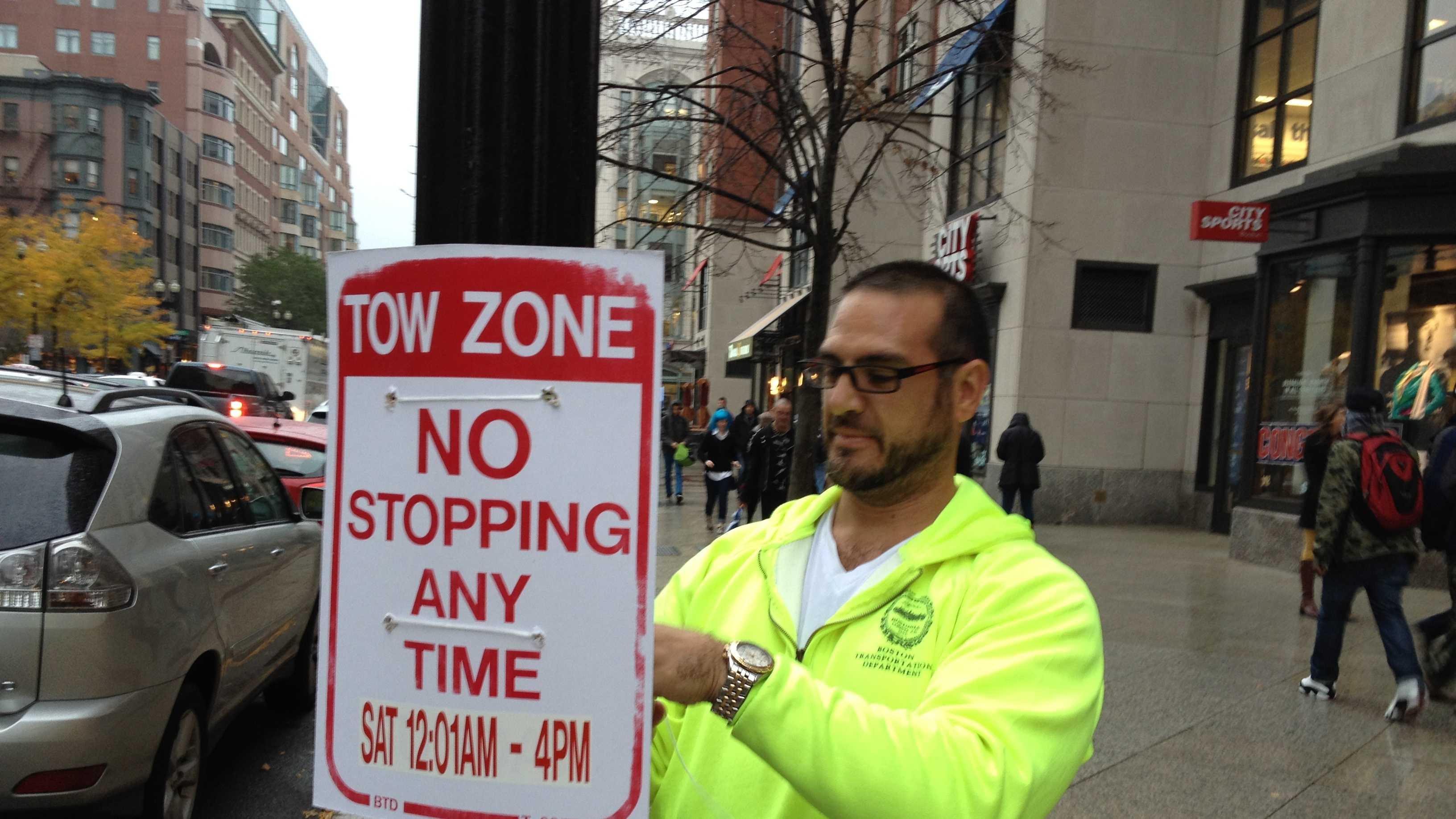 Boston Parade No Parking Signs 103113